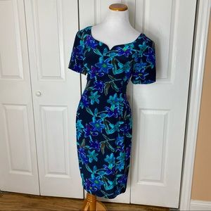 Vintage Maggy London Silk Blue Floral Dress